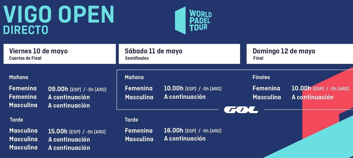 Horarios World Pádel Tour Vigo En Directo Padelstar Padel Horario 12 De Mayo
