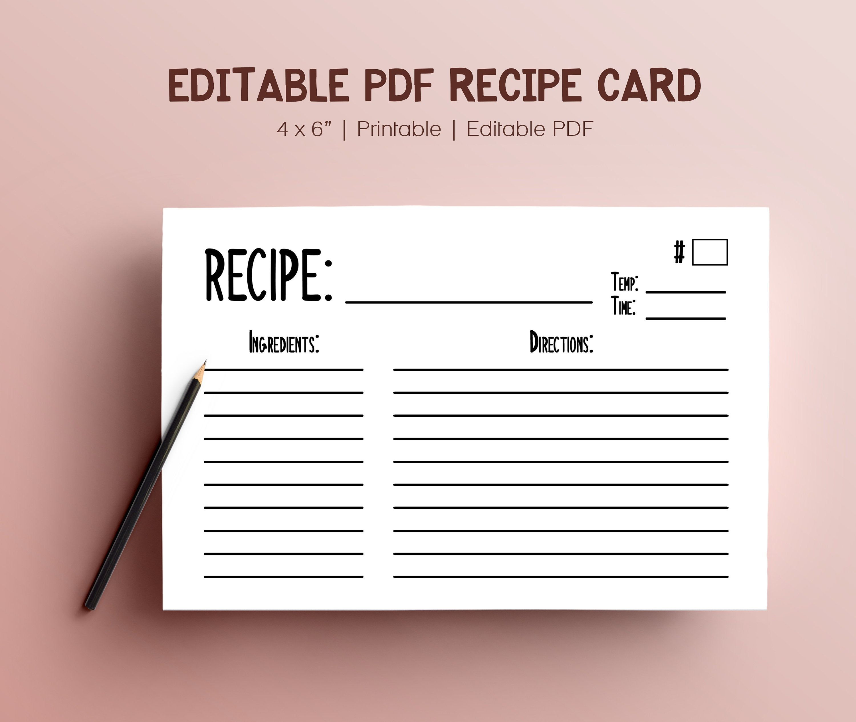 Simple Editable Pdf Index Recipe Cards For Cooking Directions Etsy Recipe Cards Recipe Cards Template Cards
