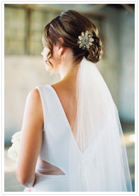 Wedding Hair Style Low Bun Veil Underneath Clip Side