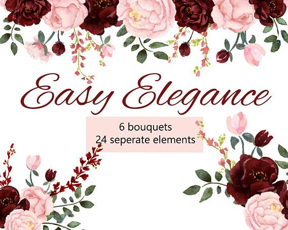 e497b095f23 Pink and Burgundy Floral Watercolor Collection Pink Blush and ...
