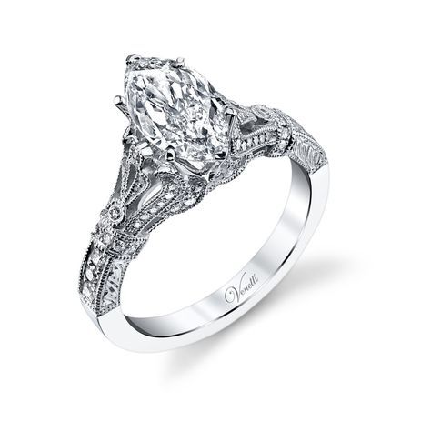 Venetti 14k White Gold Vintage Style Marquise Engagement Ring