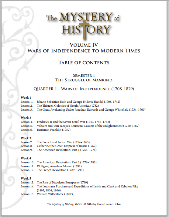 Moh Volume 4 Table Of Contents Middle School History Homeschool History Mystery Of History