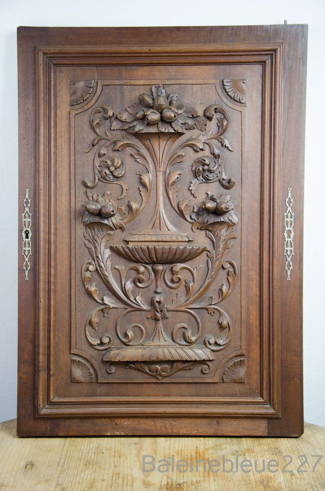 French Antique Carved Architectural Door Panel Solid Walnut Wood