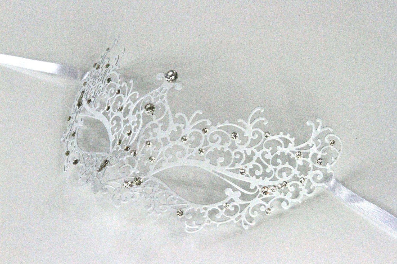 White Masquerade Mask/ Laser cut with white rhinestones Venetian ...