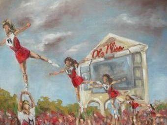 Cheerleaders watercolor ole miss