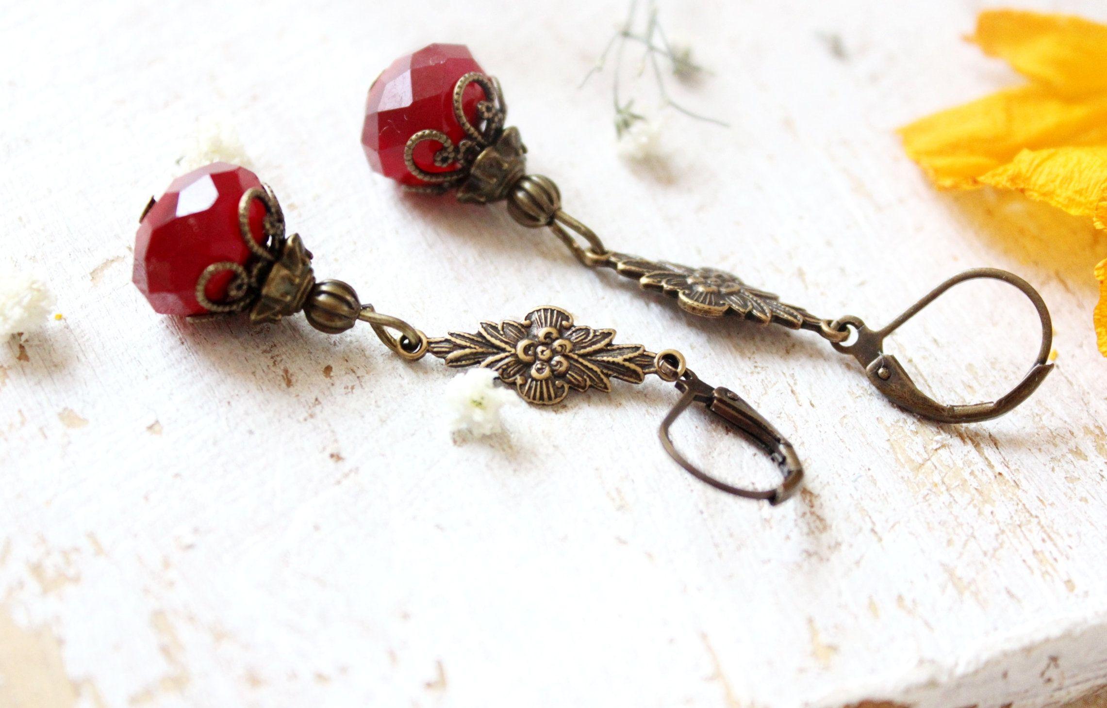 Vintage Ohrringe Ohrhänger Ohrstecker  Vintagestil Boho rosa rot Bronze
