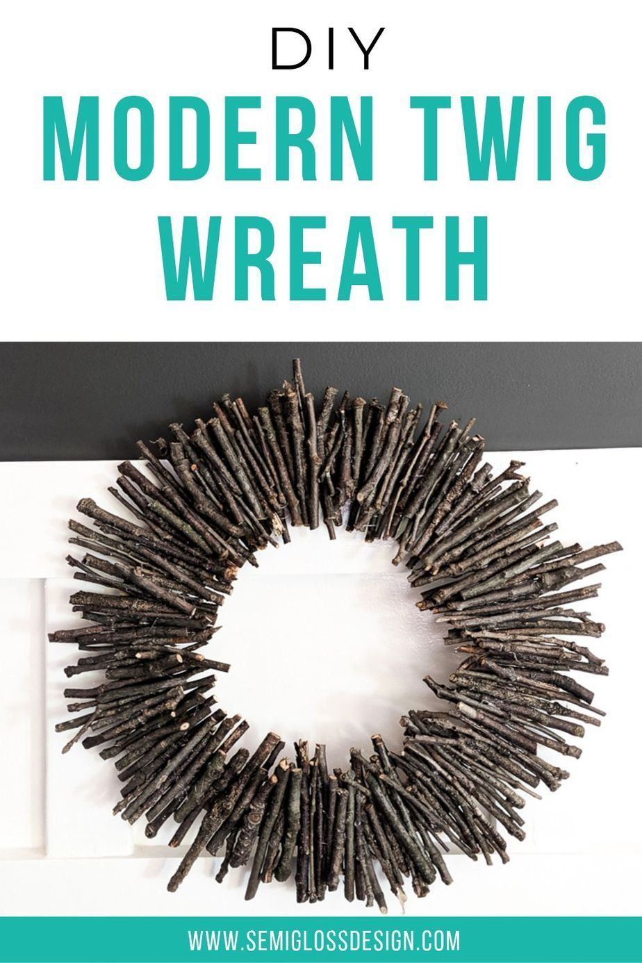 Learn how to make a twig wreath for fall. This modern twig wreath is so easy to make and will look great on your front door! Make this simple wreath today! #semiglossdesign #twigwreath #modernwreath #fallwreath #falldecor #rusticwreath