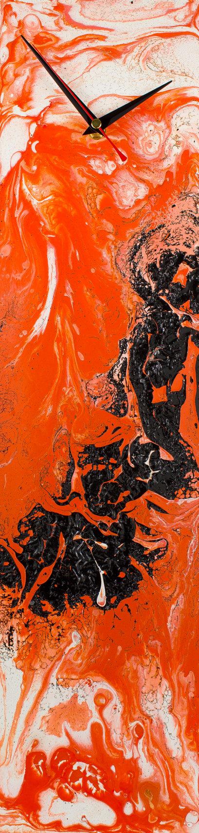 Orange Wall Clock Minimal Clocks Glass Wall Clock Minimal Wall Art Glass Wall Art Handmade By Craig An Minimal Wall Art Glass Wall Art Orange Wall Clocks