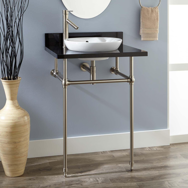 "24"" Art Deco Semi-Recessed Porcelain Console Sink"