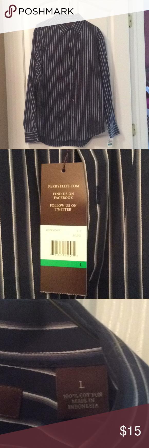 Nwt Perry Ellis Men S Shirt Size L Shirt Size Perry Ellis Shirts