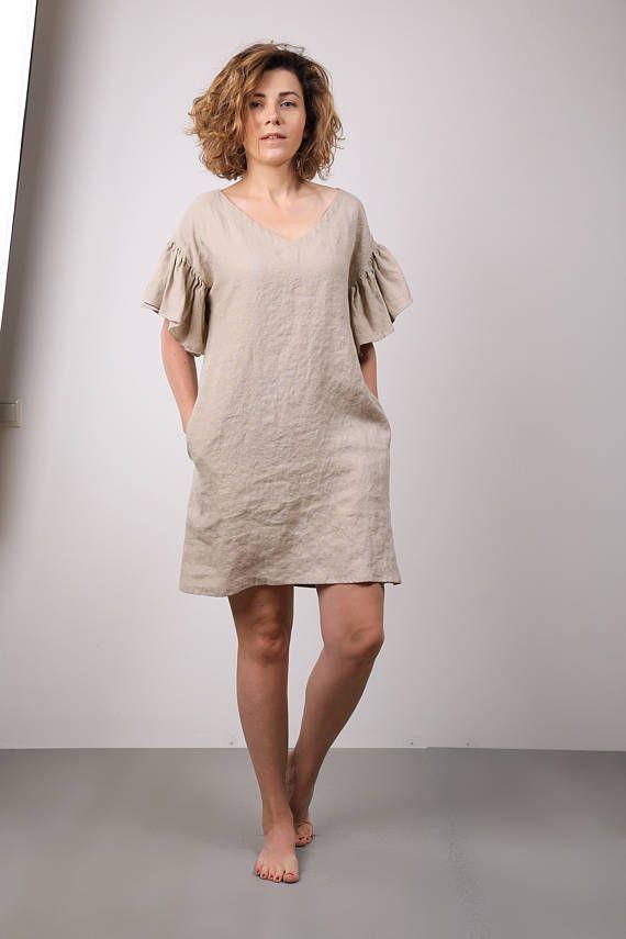 Modern linen tunic dress with ruffles / V neck dress for summer holiday / oversize mini women apparel / summer trend / mini bridesmaid dress
