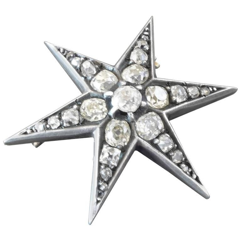 Antique French Old-Cut Diamond Silver on Gold Star Brooch | 1stdibs.com 1750$