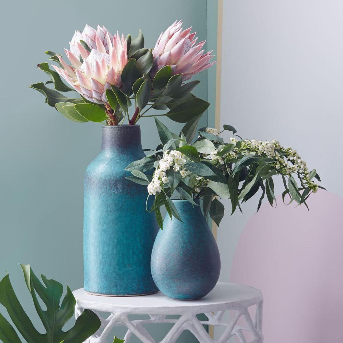 Made from ceramic earthenware with a slightly glossy finish, our rustic vases add a welcome pop of colour to any mantel, shelf or tablescape. Colour variation is pretty common as a result of the unique glazing process — so no two vases are alike.