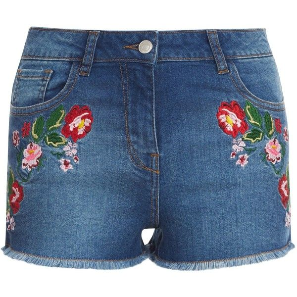 New Look Parisian Blue Floral Embroidered Denim Shorts (185 HRK ...