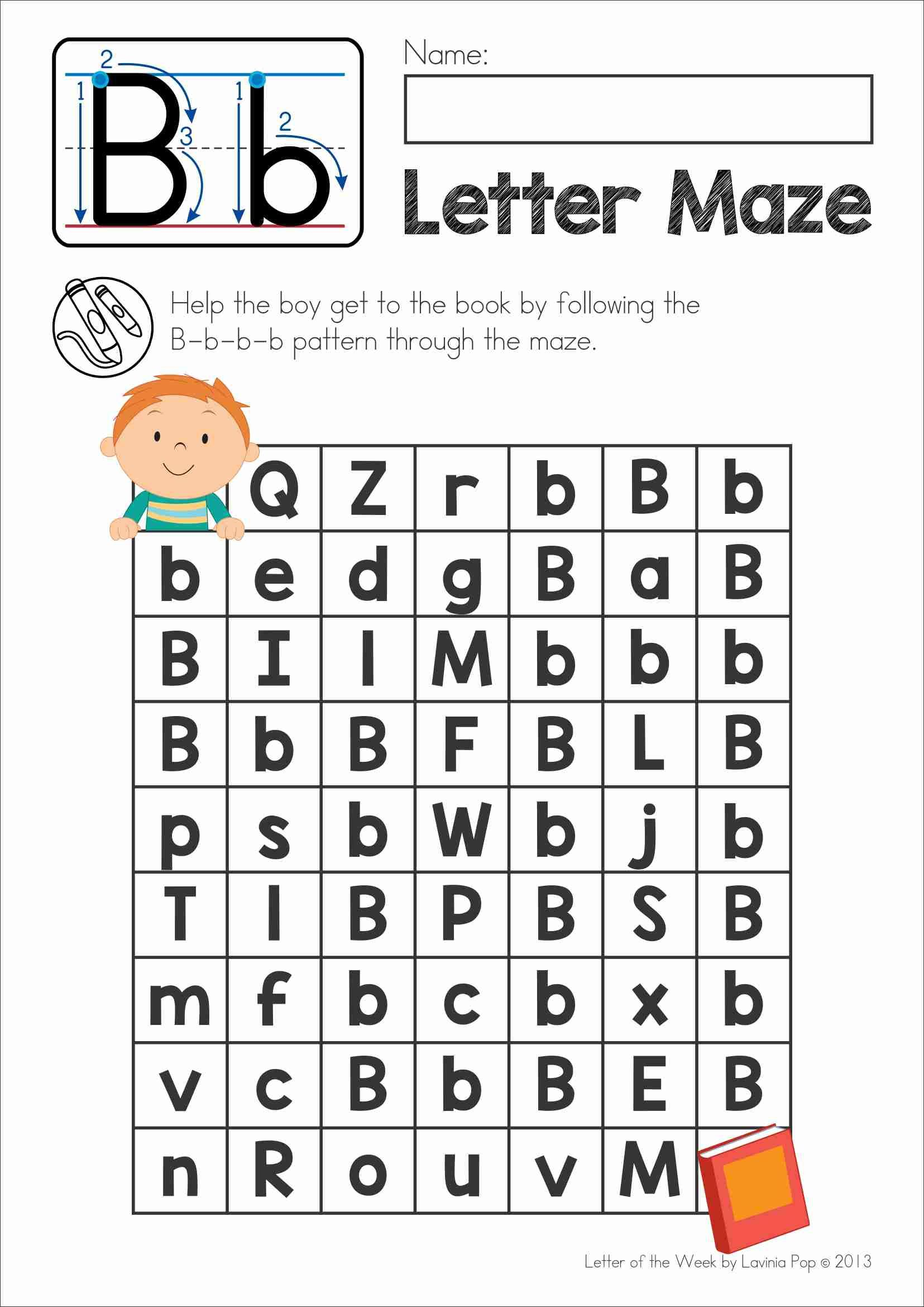 FREE Phonics Letter of the Week B. Upper and lower case letter maze ...