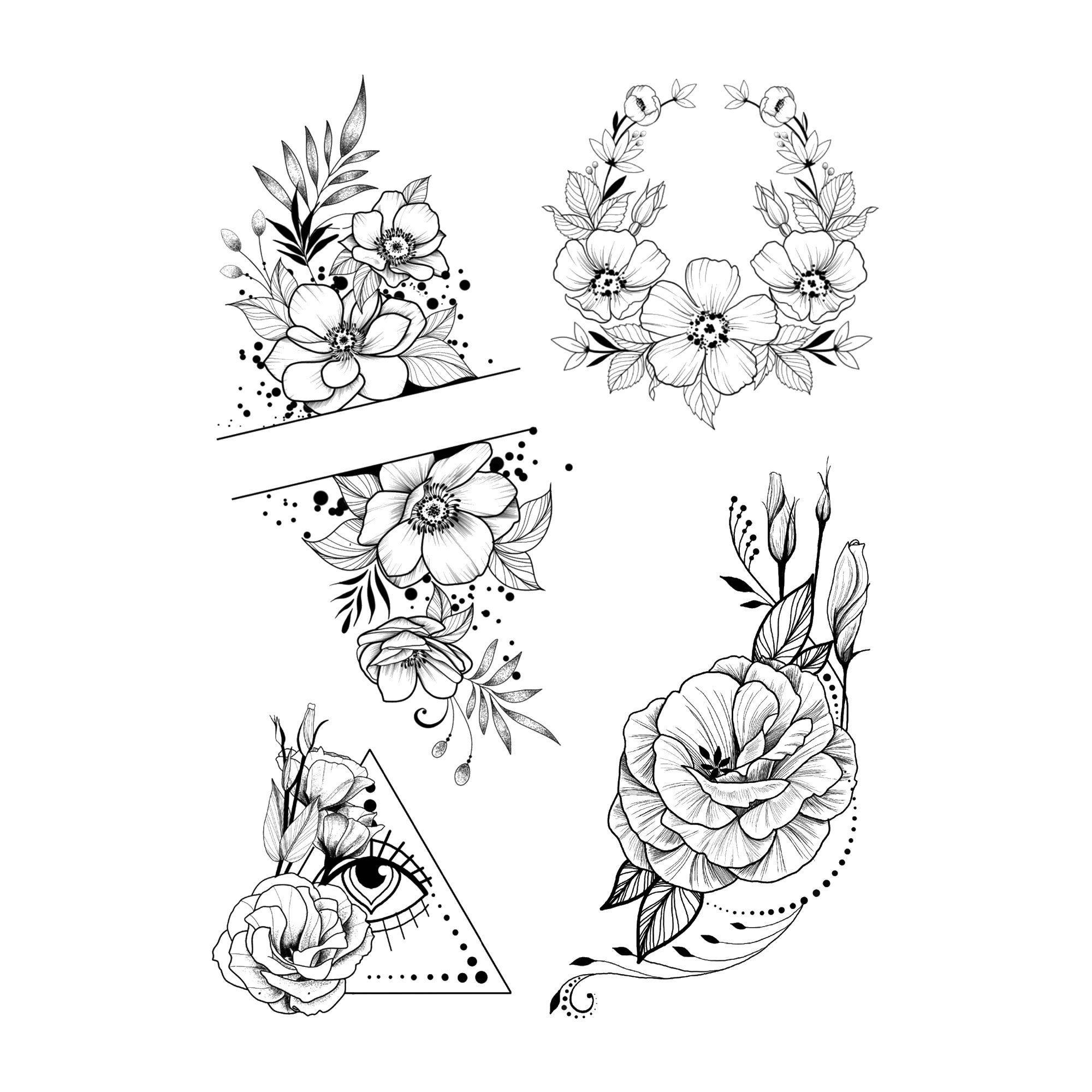 Summer blossoms Temporary Tattoo / Black dots tattoo / Wreath of flowers Thigh tattoo for girl / Black flower tattoo / Classy women tattoo