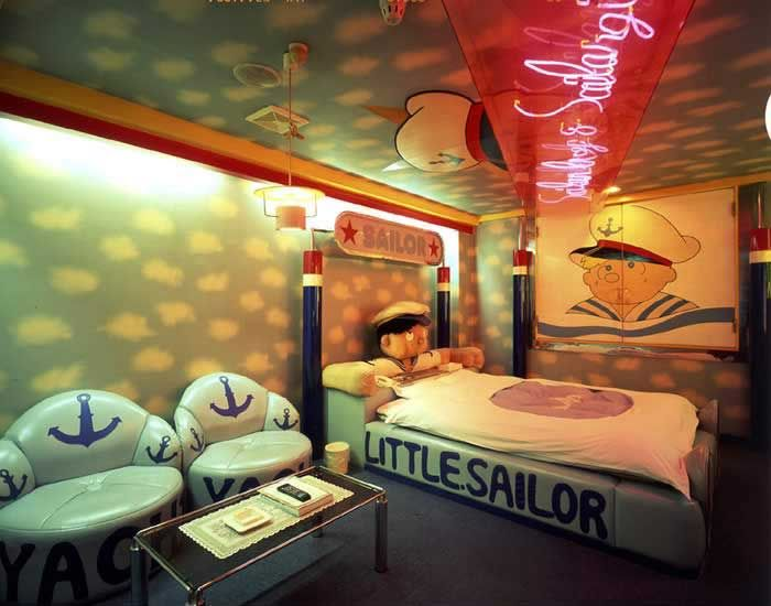 How cute is this little sailor room at the love hotel for Cute hotel rooms