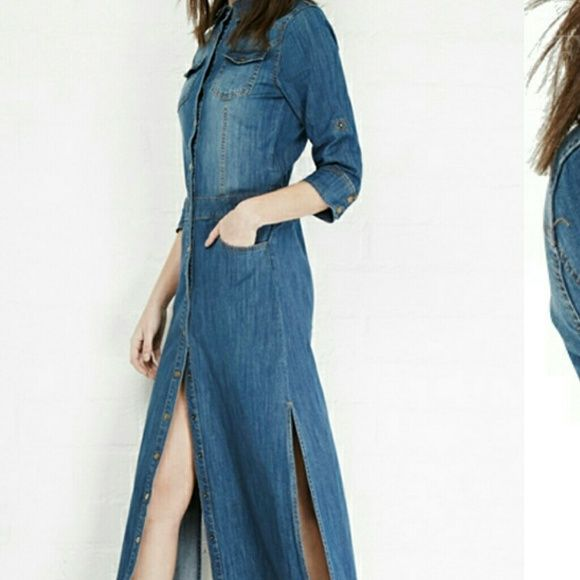 Long jean dress size s Brand new without tags. Says s but fits like an xs haoduoyi Dresses Maxi