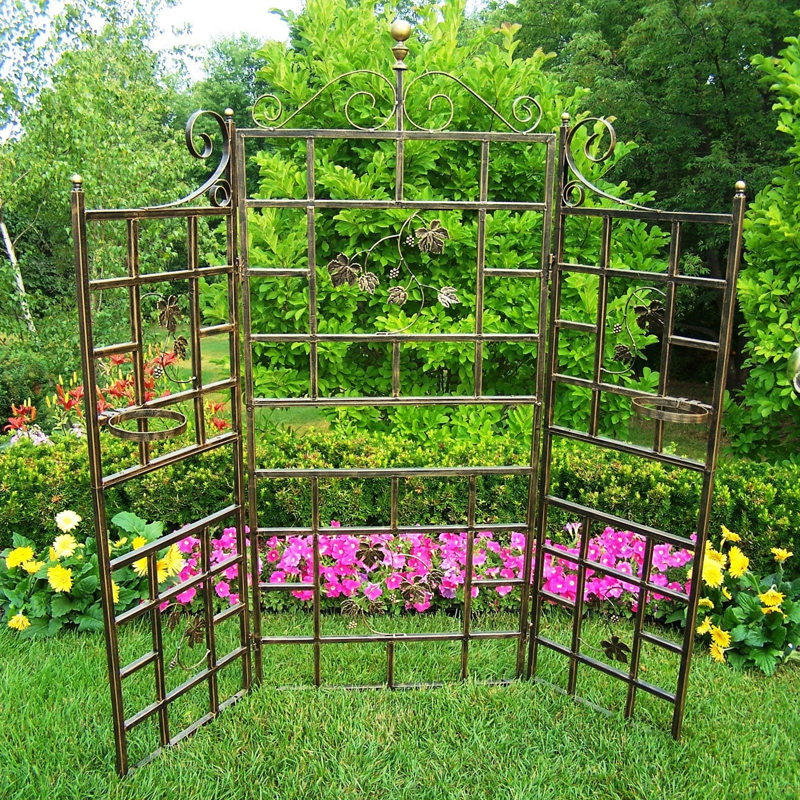 Wedding gate decoration ideas  Oakland Living  Piece Patio ScreenHinged with Basket Loops  from