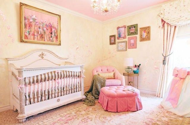 Babyzimmer mädchen gelb  ideen babyzimmer einrichtung deko mädchen rosa hell gelb ...
