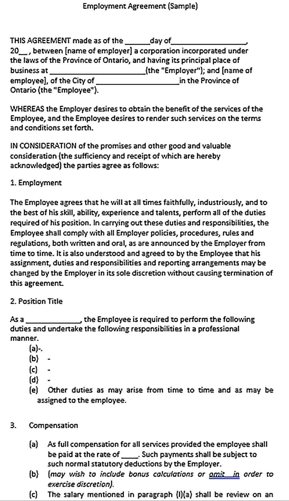 Sample Compensation Agreement Templates Business Template Compensation Templates