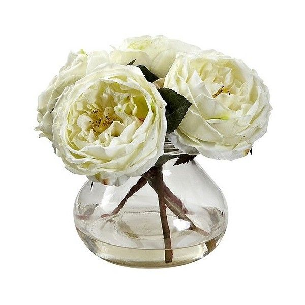 Nearly Natural Fancy Rose with Vase ($50) ❤ liked on Polyvore featuring home, home decor, floral decor, white, faux flowers, white silk flowers, blossom tree, flower arrangement and silk flower bouquets