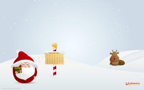 fond d'écran Noël neige et pere noel boule décembre 2009 #decembrefondecran