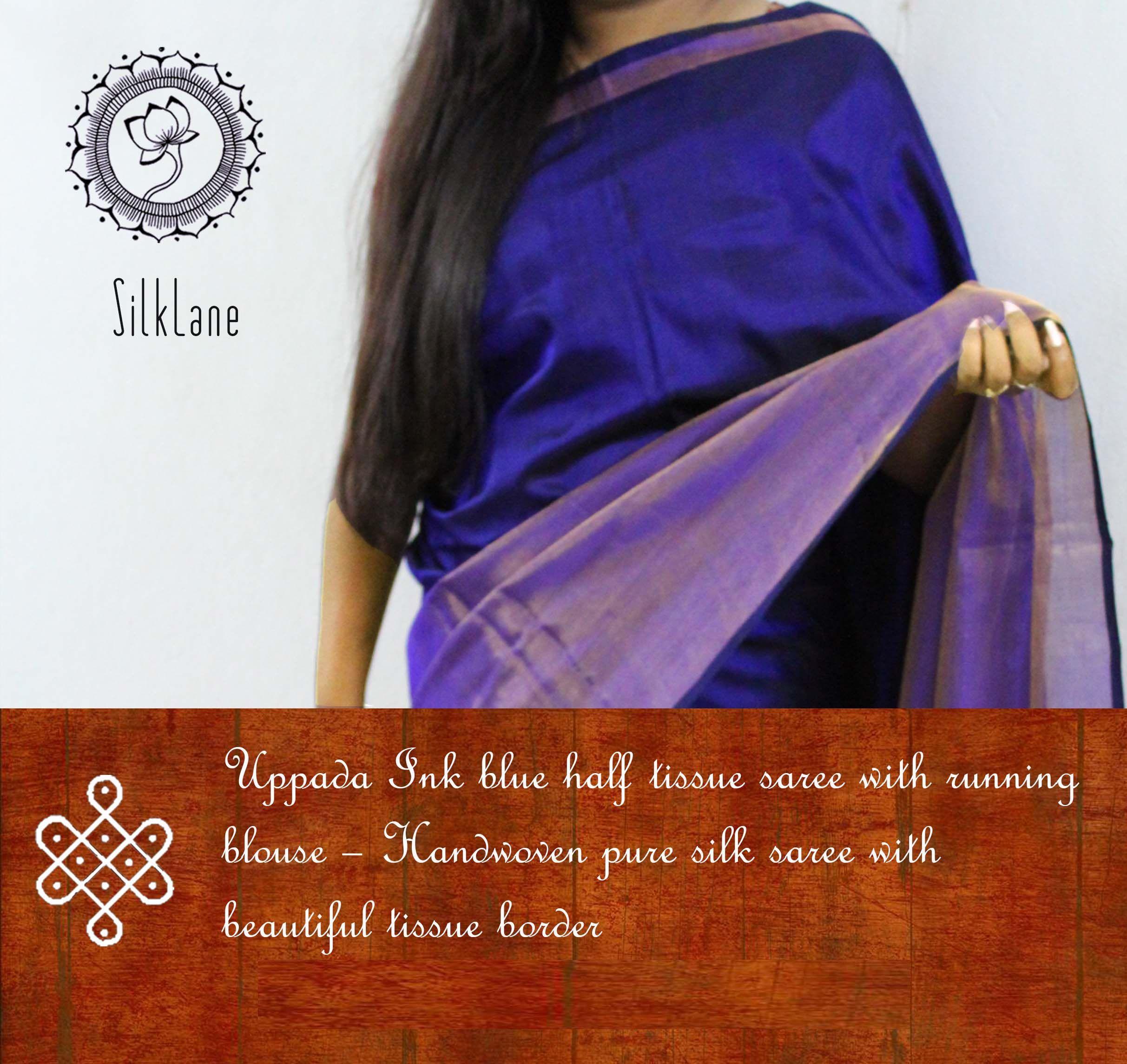 Tissue silk saree beautiful ink blue half tissue uppada pure silk saree with running
