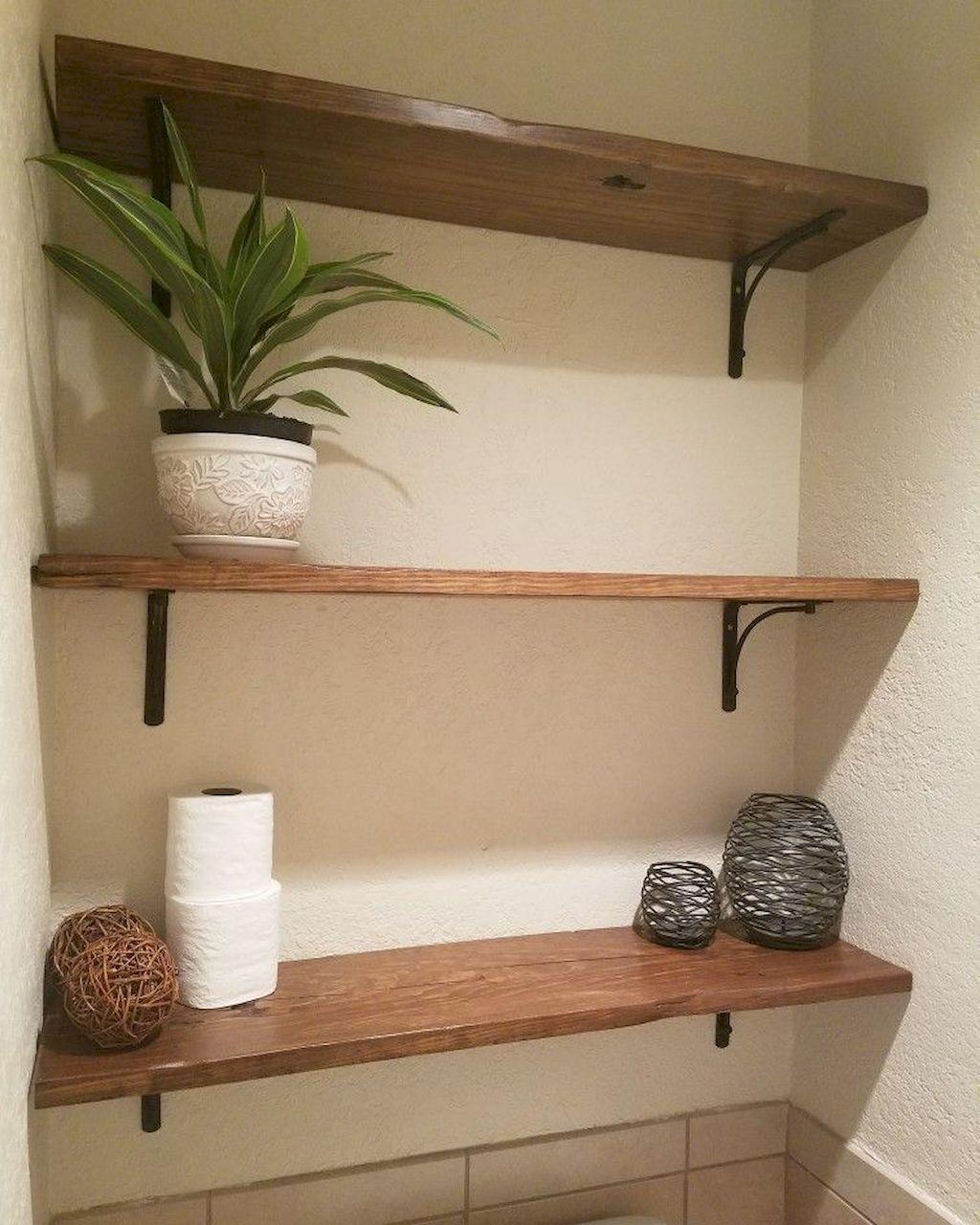 35 Diy Bathroom Shelf Ideas From Wood Pallets Toilet Shelves Bathroom Shelf Decor Simple Bathroom