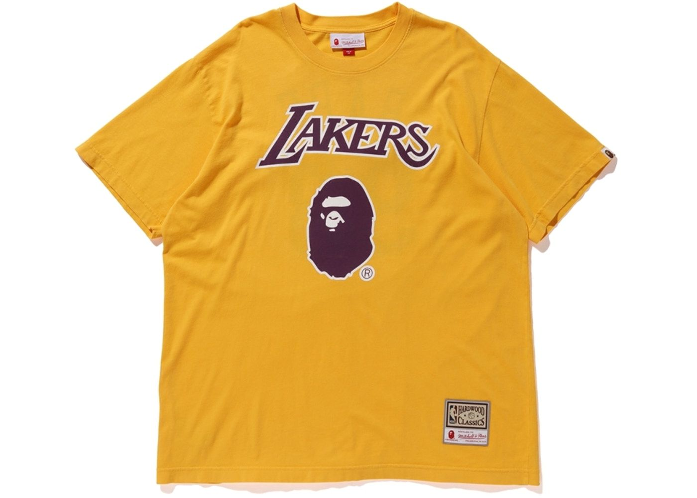 f8d5e0c92 BAPE x Mitchell   Ness Lakers Tee Yellow in 2019