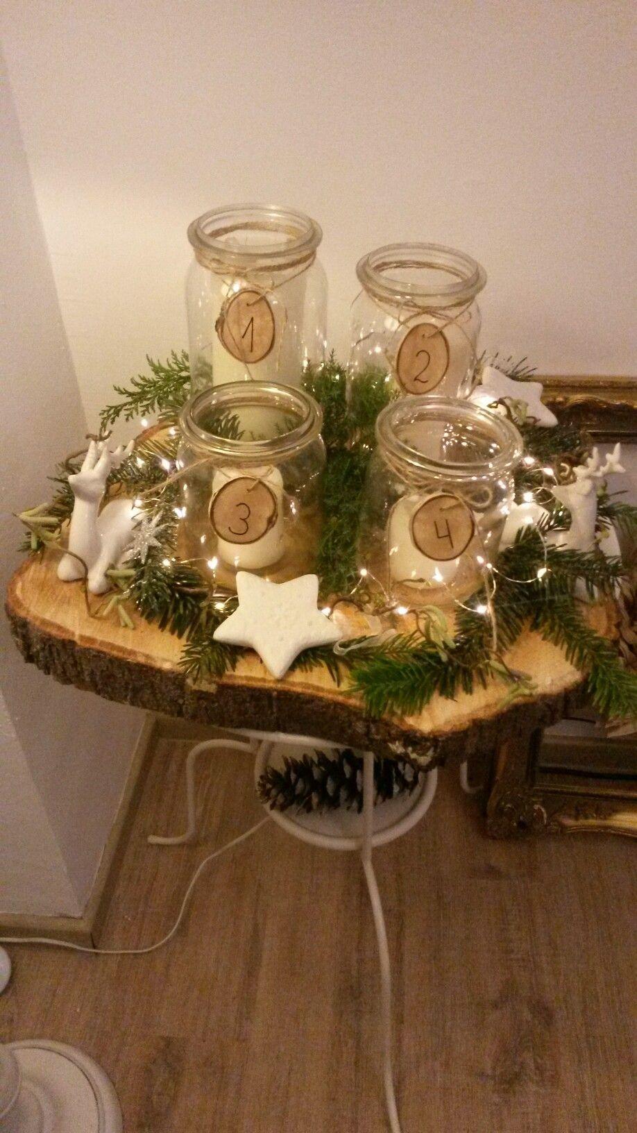 adventskranz mit gl sern und lichterkette xmas pinterest weihnachten advent und kranz. Black Bedroom Furniture Sets. Home Design Ideas