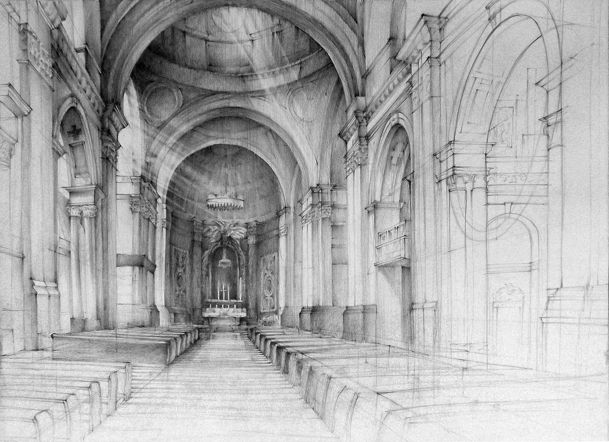 Baroque Church Lukasz Gac Domin Poznan Architectural Drawings