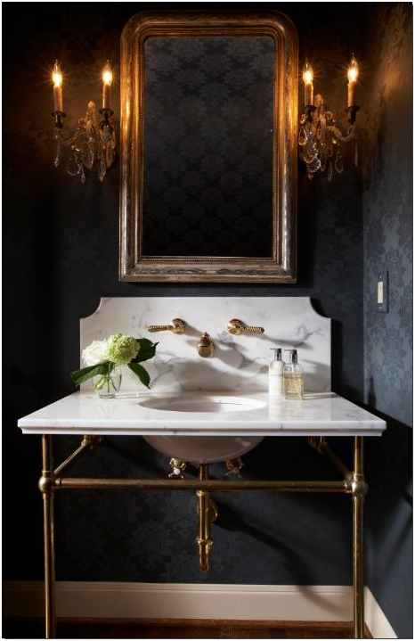 powder room with dark wallpaper with a subtle damask print, marble