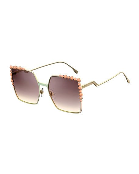 88747a89d01 FENDI Can Eye Studded Oversized Square Sunglasses