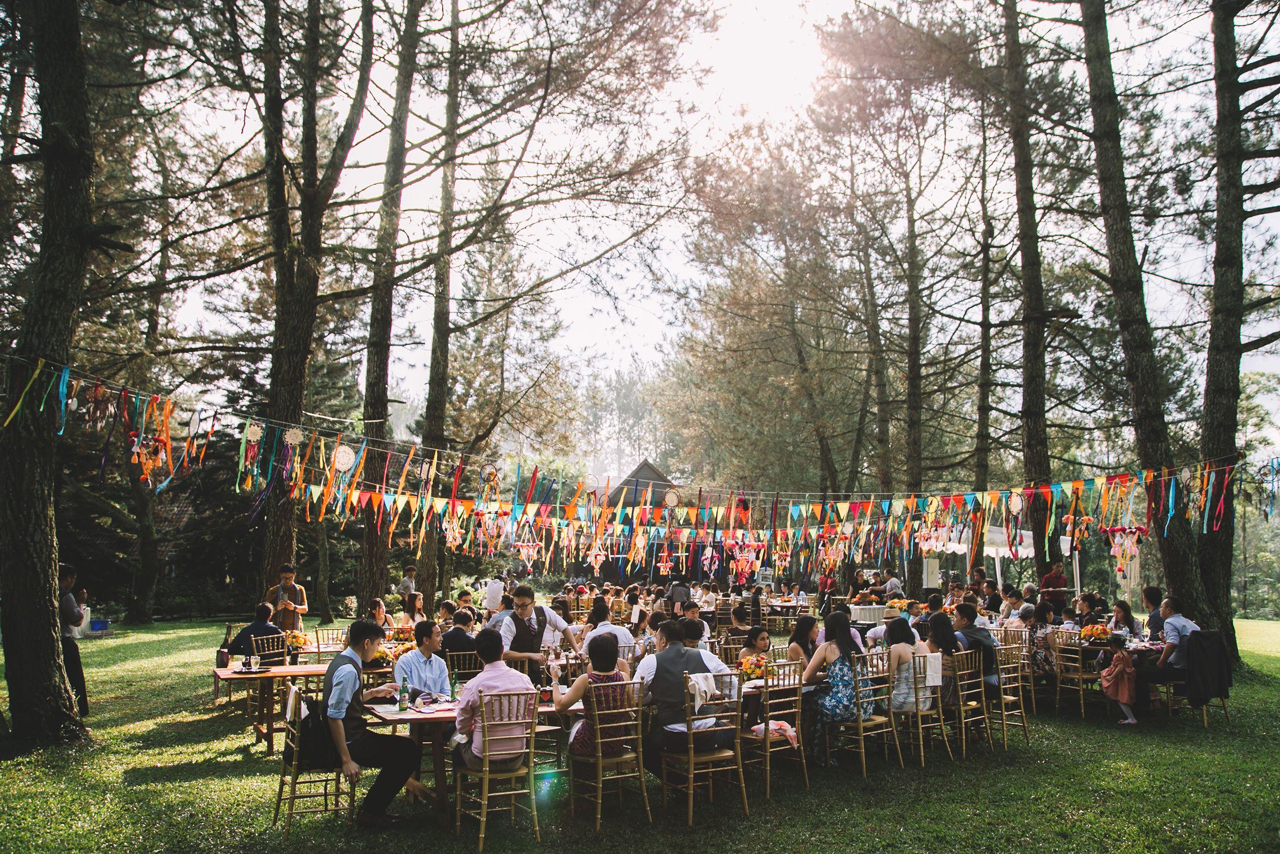 Dreamy bohemian forest wedding reception bandung Forest