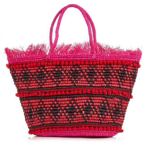 Sensi Studio Toquilla-straw frayed tote (3.222.715 IDR) ❤ liked on Polyvore featuring bags, handbags, tote bags, straw tote bags, straw beach tote, handbag tote, straw handbags and red tote bag