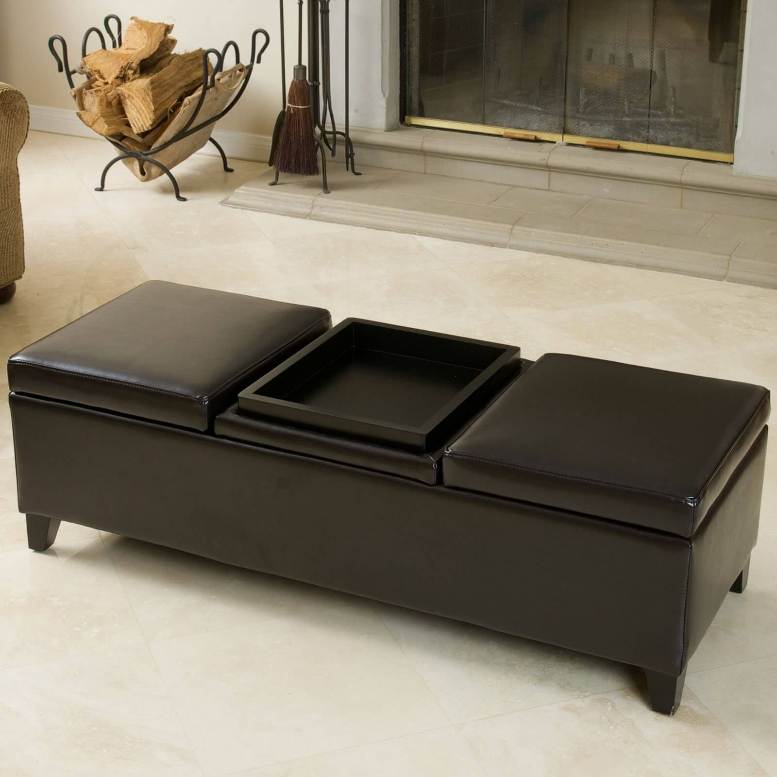 Furniture Stunning Brown Leather Ottoman Coffee Table Rectangular Shape Specially Design With 2 Side Surface