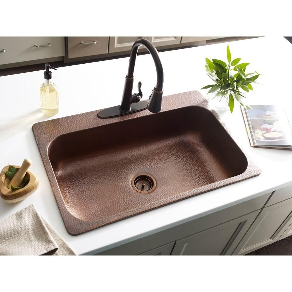 Sinkology Angelico Drop In Handmade Pure Copper 33 3 Hole Single Bowl Kitchen Sink Hammered Antique Sk101 33ac The Home Depot