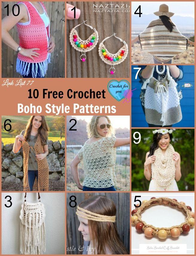 10 Free Crochet Boho Style Patterns | Accesorios