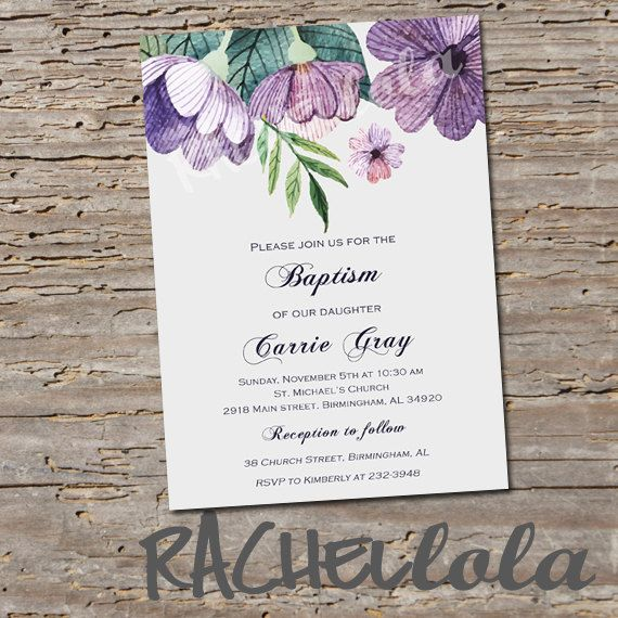 Purple Floral Baptism invitation Printable DIY christening
