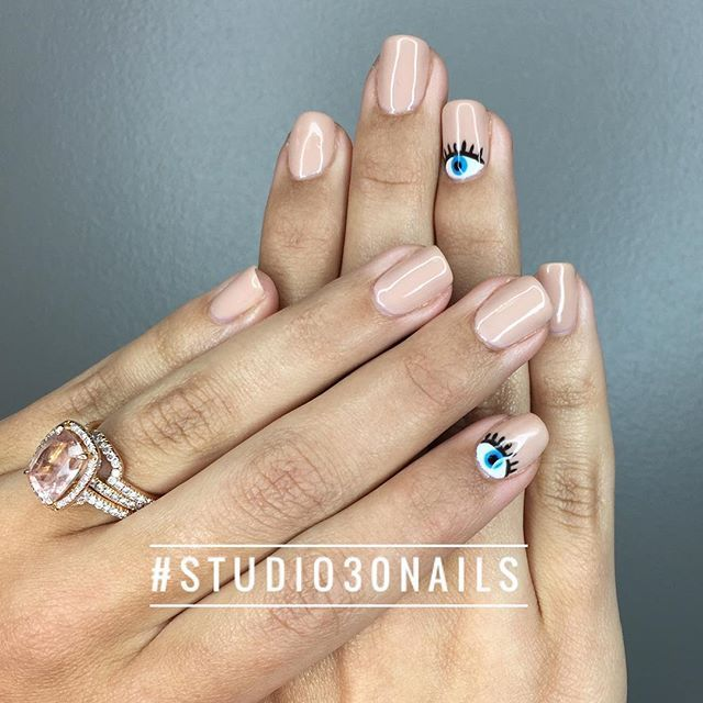 Evil eye, Nail art, Nails, Manicure, Nude, Sola Salons - Evil Eye, Nail Art, Nails, Manicure, Nude, Sola Salons Nail Art