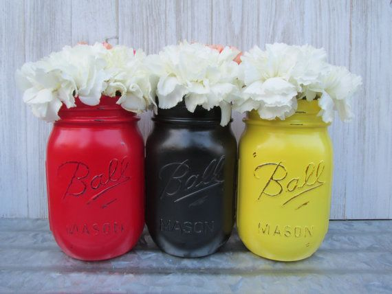 Mouse- Painted Ball Mason Jars-Flower Vases- Yellow, Red and