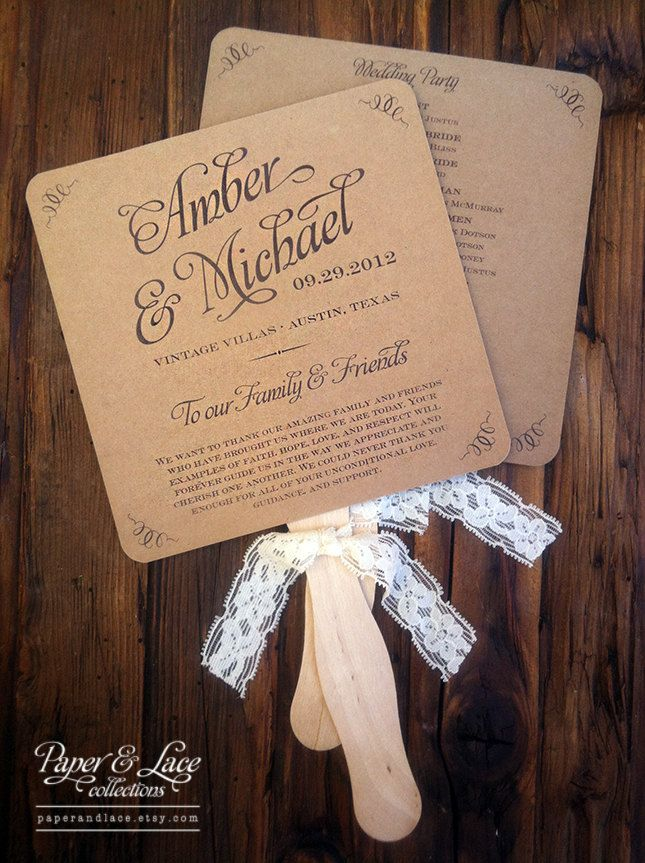 Wedding Program Fans Rustic Kraft & Lace by paperandlaceaustin ...