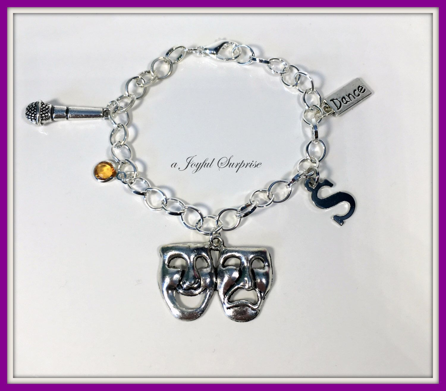 Triple Threat Charm Bracelet, Theatre Gifts, Gift Jewelry, Drama Mask  Microphone Dance Initial