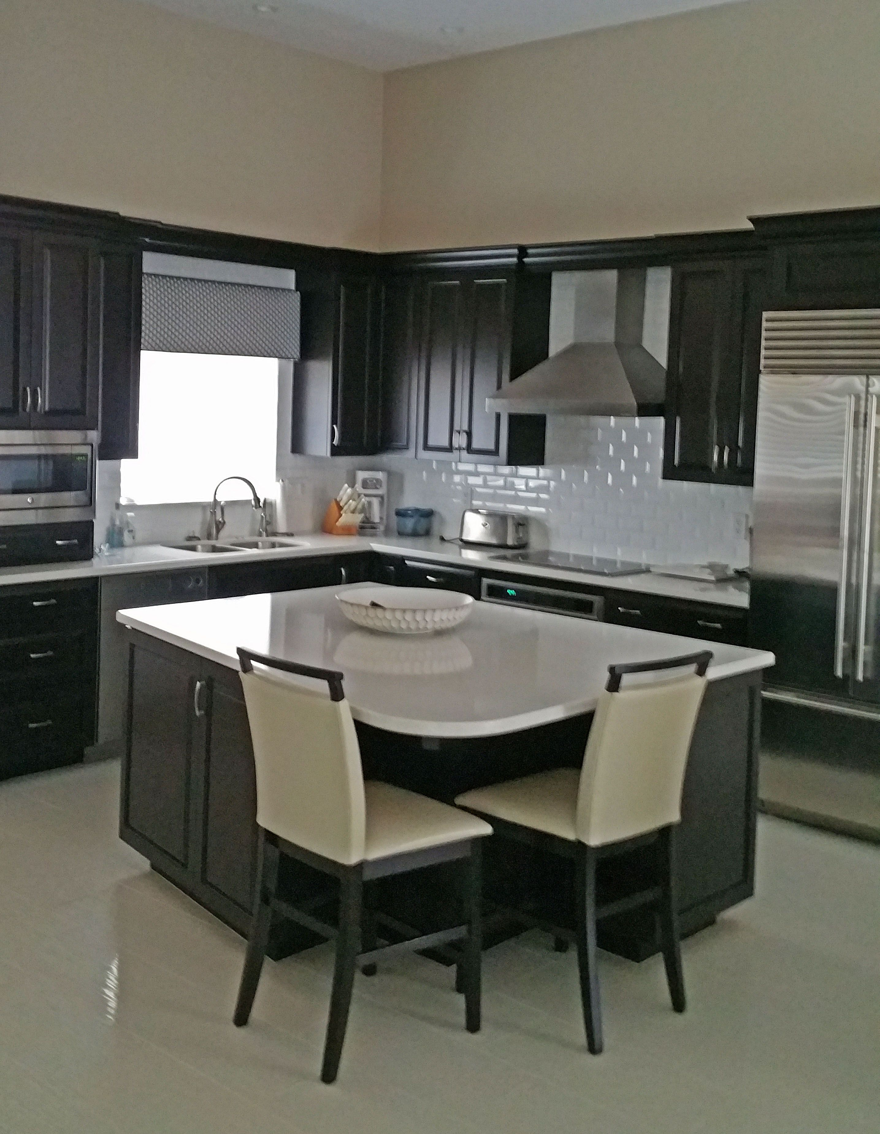 Remodeled Total Casita Built In 1980 S Kitchen Is Transitional Using Custom Wenge Cabinets Engineered Ston Engineered Stone Countertops Kitchen Remodel Home