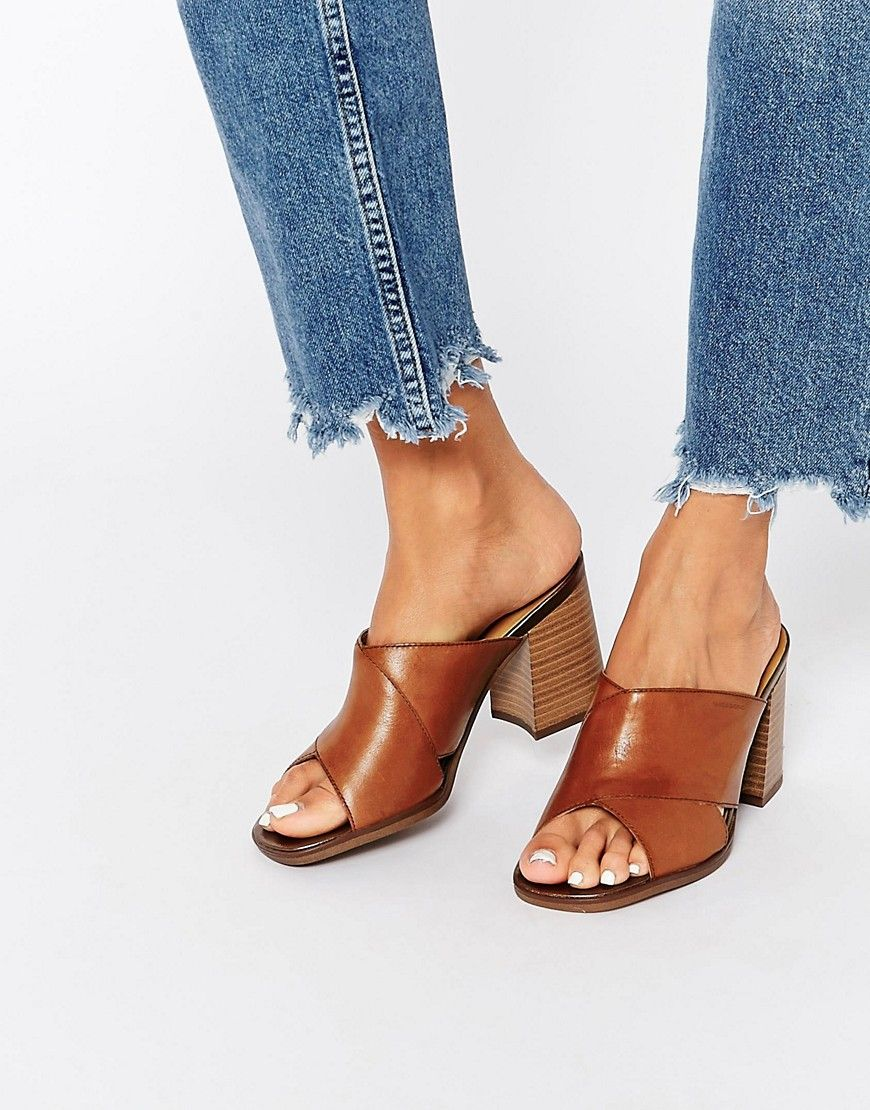 Image 1 of Vagabond Lea Tan Leather Heeled Mule Sandals   sandals ... eacac54bb7