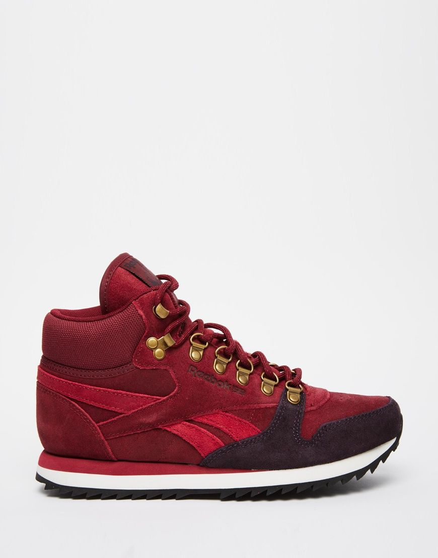 Image 2 of Reebok Leather Winterized Wine High Top Trainers
