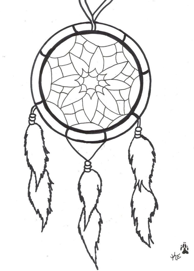 Dream Catcher Coloring Pages Easy Dream Catcher Tattoo By