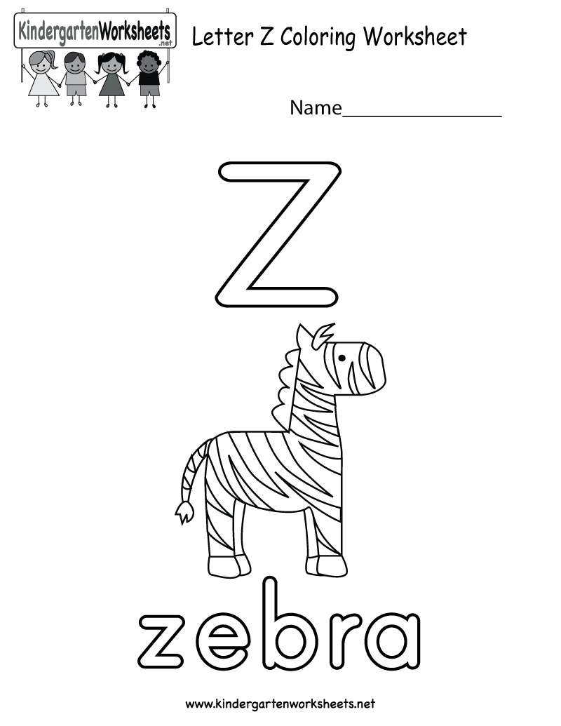 This is a letter Z coloring worksheet for preschoolers or