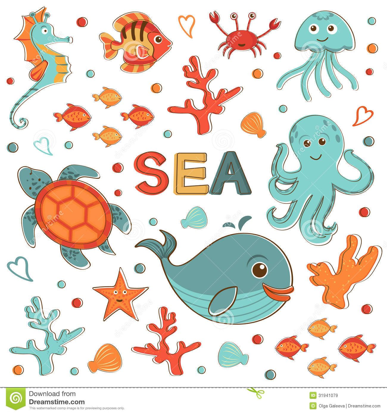 Cute Cartoon Sea Animals Cute Sea Animals Vector Cute Sea Creatures Collection Royalty Free Cartoon Sea Animals Sea Creatures Creatures